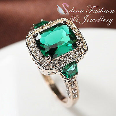 18K Rose Gold Plated Genuine Swarovski Crystal Luxury Classic Dark Emerald  Ring