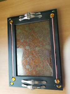Plastic/wood composite/resin serving tray with metal handles