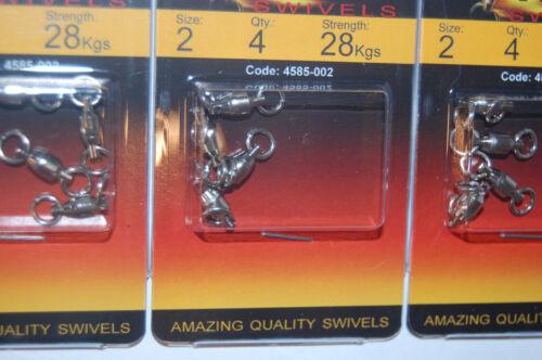 3 packs spro stainless steel ball bearing swivels 2 rings #2 28kg 60lbs 4585-002