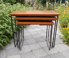 Mid Century Metal and Teak Nesting Tables, Set of 3