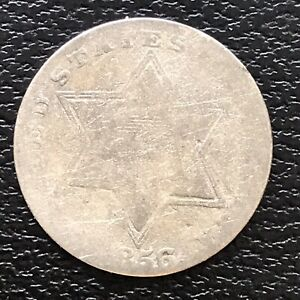 1856-Three-Cent-Piece-Silver-Trime-3c-Circulated-17474