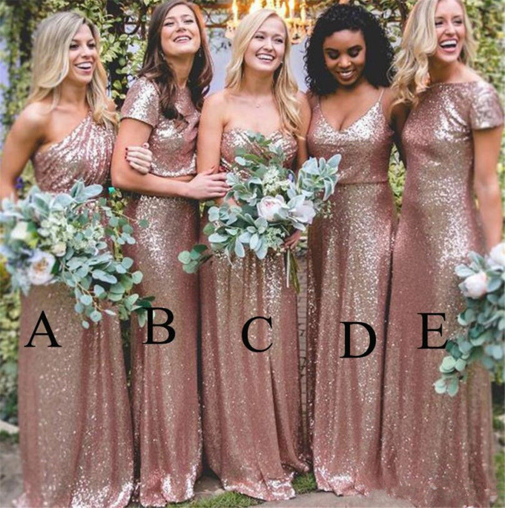 Sparkly Sequins Formal Bridesmaid Dress pink gold Prom Party Ballgown Two Pieces