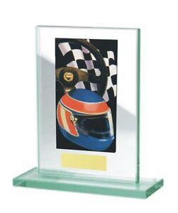 Glas-Pokal mit farbigem Hologramm (WH511-Autorennen) inkl. Gravur nur 17,75 EUR