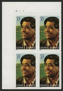 #3781 37c CESAR Chavez, Placa Bloque [B1111 Ul ], Nuevo Cualquier 5=