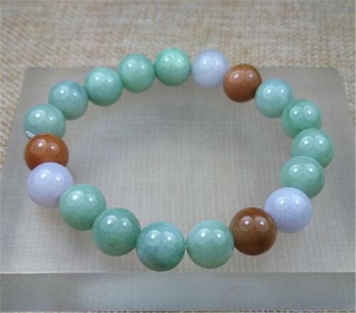 Naturel Birman un grade vert jadeite Jade 10.3 mm Perles Avec Extensible Bracelet