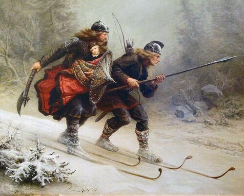 Viking Skiing Warriors Valhalla Norway Baby Painting Real Canvas Art Print New