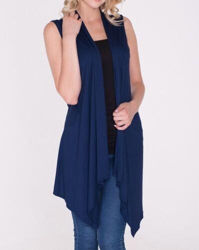 Women Open Vest Tunic Top Shawl Collar Draped Sleeveless Cardigan USA S M L XL