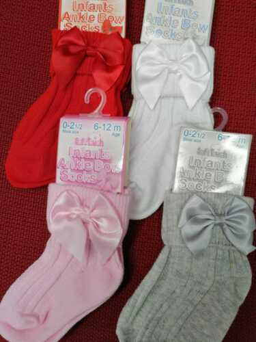 Baby Girls Gorgeous Ribbon Bow Ankle Socks 24  MT 12  MTH  12 6 MTH   6