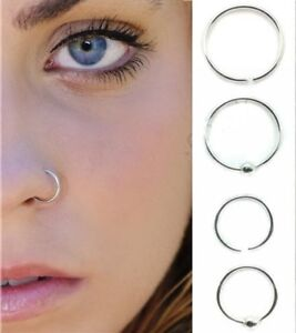 Sterling Silver Nose Ring Hoop 8mm 10mm Small Thin Piercing Stud