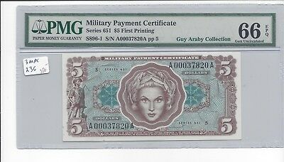 MPC Series 651  5 Dollars  PMG 66EPQ  GEM  UNC  x Guy Araby