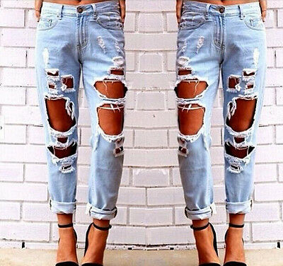 Ladies Women Stretch Faded Ripped Slim Fit a lot of Skinny Denim Jeans