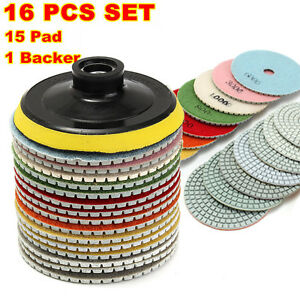"16PCS 4"" Diamond Polishing Pads Grinding Disc Wet/Dry Granite Concrete Marble"