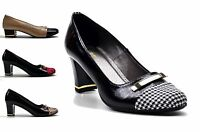 WOMENS SHOES LADIES MID BLOCK HEEL NEW OFFICE WORK COURT SHOES SIZE 3,4,5,6 & 7