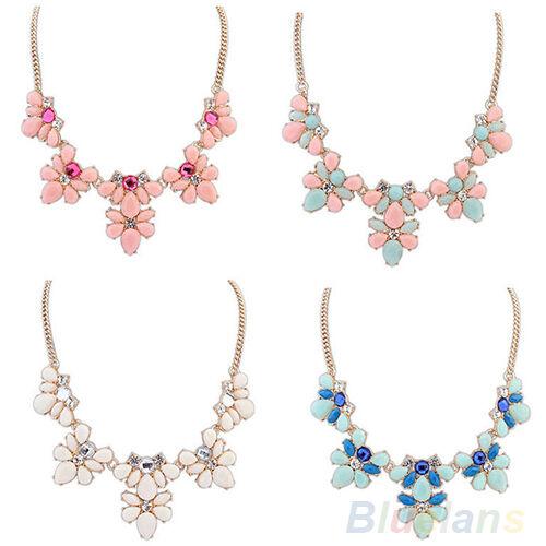 Hot Womens Crystal Resin Flower Statement Bib Chain Choker Necklace Pendant BF4U