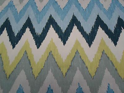 Schumacher Fabric  'Adras Ikat' 2.2 METRES (220cm) Sky Colourway  100% Cotton