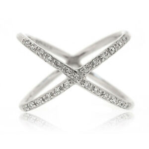 925 Sterling Silver Crystal Cz Criss Cross X Shape