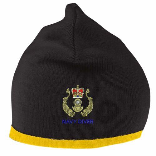 Navy Diver Beanie chapeau avec logo brodé