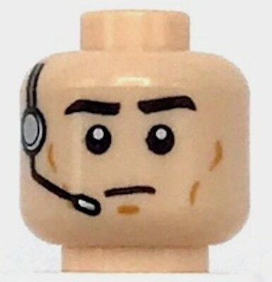 LEGO NEW LIGHT FLESH MINIFIGURE HEAD WITH CHEEK LINES AND HEADSET PATTERN