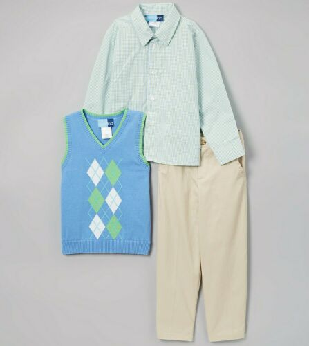 Boys GOOD LAD suit green blue 5 6 NWT khaki pants Easter vest plaid dress shirt