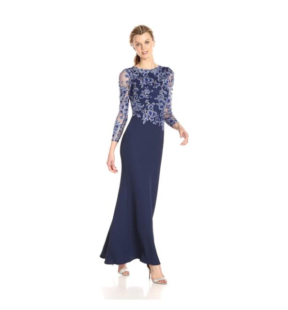 a13704ae80 Tadashi Shoji Women s Long-Sleeve Gown in Textured Crepe with Floral 466.97  MSRP