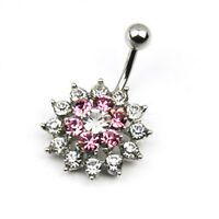 Pink White 14G Flower Crystal Belly Button Navel Ring Bar Body Piercing Hot