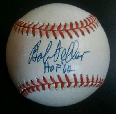 Autographs-original Nice Bob Feller Autographed Rawlings Official Al Baseball Hof '62