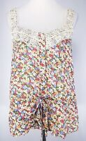 Sugarlips Size L Floral Cameo Tank Top Wide Shoulder Straps Lace Accent