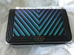 741380bdd74b New CHANEL CHEVRON BOY SO BLACK Wallet On Chain WOC Bag CrossBody ...