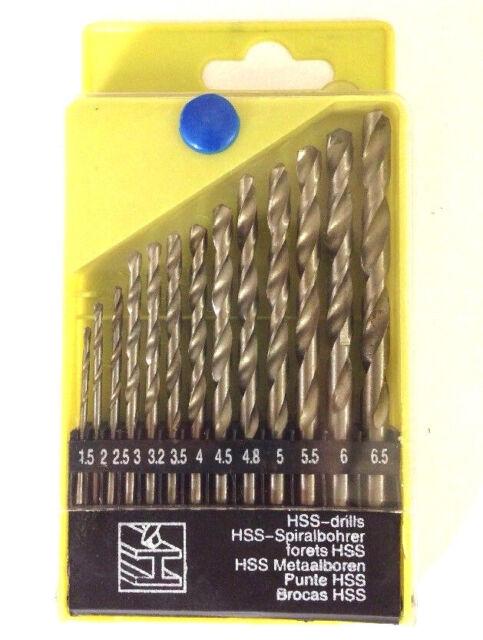 13pcs HSS High Speed Metal Drill drills Set 1.5mm - 6.5mm Plastic Case for Wood