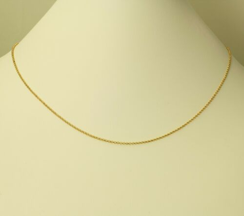 """14K Real Yellow Gold 1.6mm Classic Rolo Cable Chain Necklace 20/"""" Women Children"""