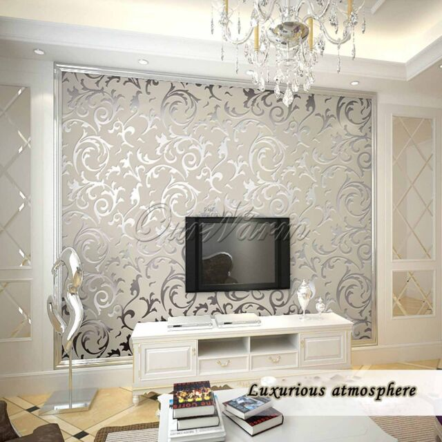 10M Silver Luxury Embossed Patten Textured Wallpaper Rolls Home Decoration Top