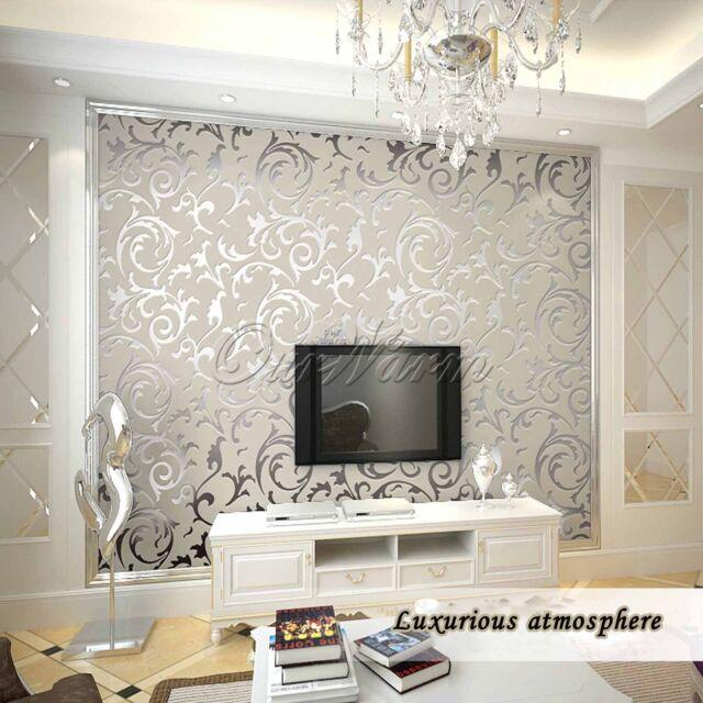 Silver 10M Good Victorian Damask Luxury Embossed Wallpaper Rolls Room Decoration