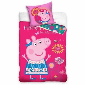 Peppa-pig-Fleurs-Set-Housse-de-Couette-Simple-Rose-Filles-Chambre