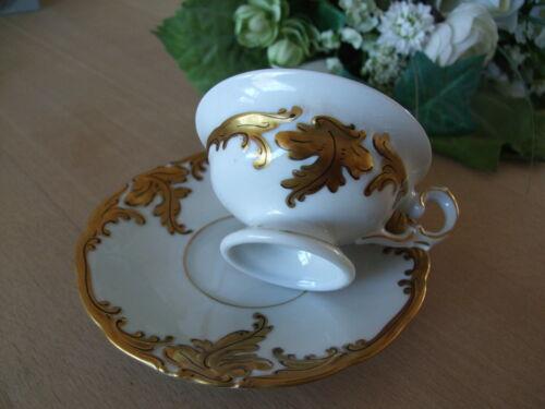 Porzellan Mokkatasse Moccatasse Espressotasse Goldrelief Wavel Polen