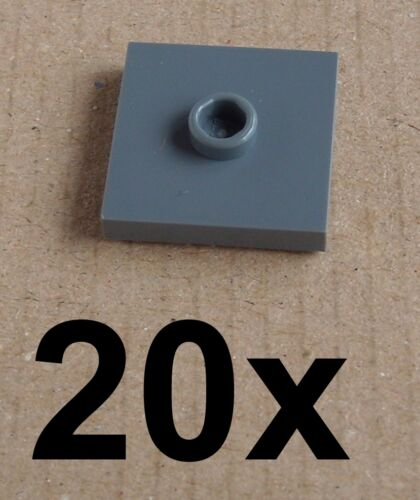 Lego 20 Pieces Tiles Dark Bluish Gray 2 x 2 with Cam 87580 New Tile 2x2 Basics