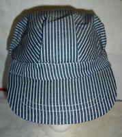 Train Engineer's Conductor's Blue Striped Hat Cap Fits Boys/girls