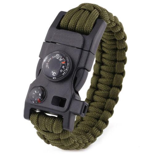 15 in1 Outdoor Camping Survival Seile Armband Kompaß Pfeife Messer Feuer Starter