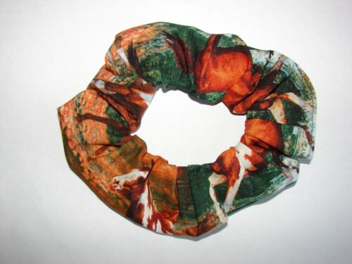 HORSES paints bays palominos fabric hair scrunchie equine horse western rodeo