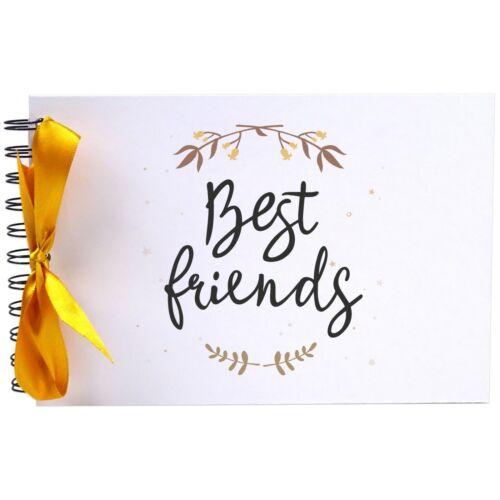 Photo Album Scrapbook Blank White Pages A5 Best Friends Ribbon