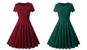 Ladies-Vintage-Style-1940s-Rockabilly-Evening-Swing-Skaters-Tea-Dress-Red-Green