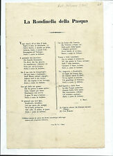 Poesia Critica al Vaticano La Rondinella della Pasqua Blasfemia S. Berti 1861
