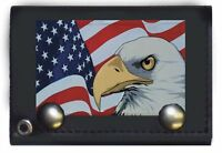 Patriotic Eagle Usa American Black Genuine Leather Wallet With Chain (4 Inch)