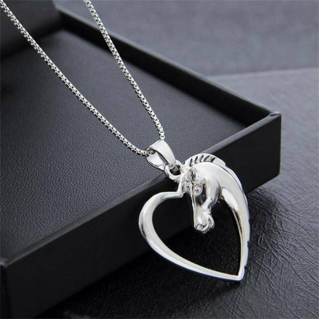 1 Pc Women Silver Hollow Heart Charm Horse Head Pendant Necklace Animal Jewelry