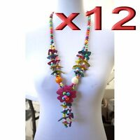12pc Wholesale Handmade Long Colorful Wooden Coconut Shell Necklace