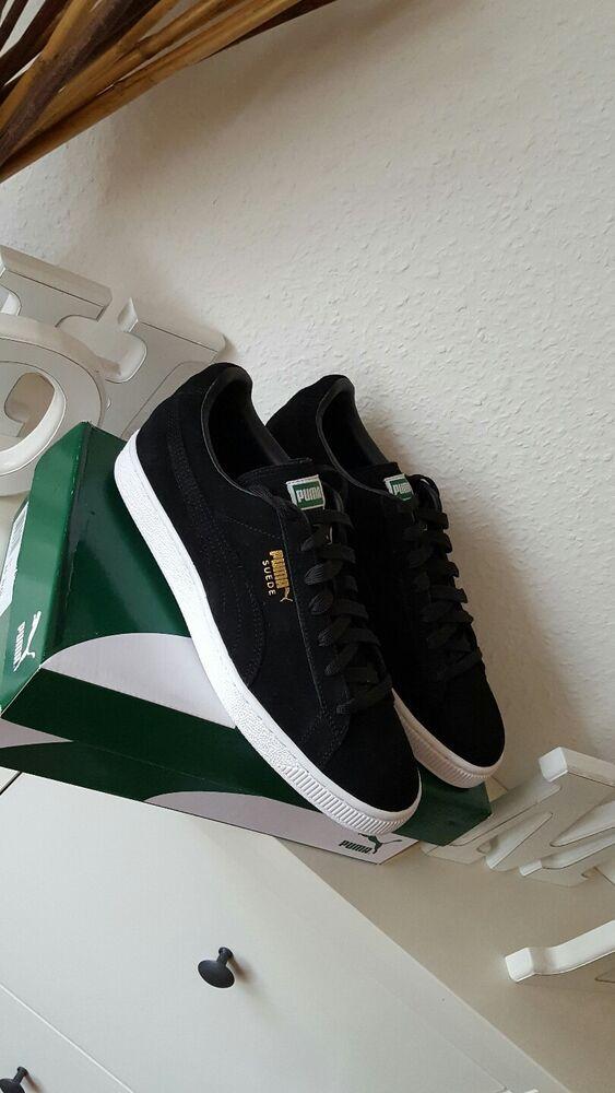 Puma Suede Classic Femmes Hommes Chaussures Sneaker Noir or Blanc 43 NOUVEAU -