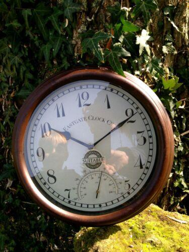 Uhr im Stil einer Bahnhofsuhr 40 Grad innen+aussen Küchenuhr mit Thermometer