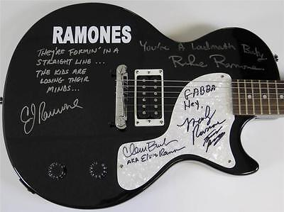 RAMONES Signed Autograph Guitar by 5 Tommy, Marky, Richie, CJ, Elvis Ramone