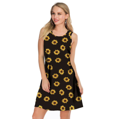 Women/'s Boho Floral Sleeveless Dress Summer Holiday Beach Casual Tank Sundress