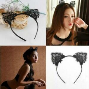 Lace Cat Ears Headband Animal Ears Face Halloween Party Pub Costume ... 4e1d45a678e
