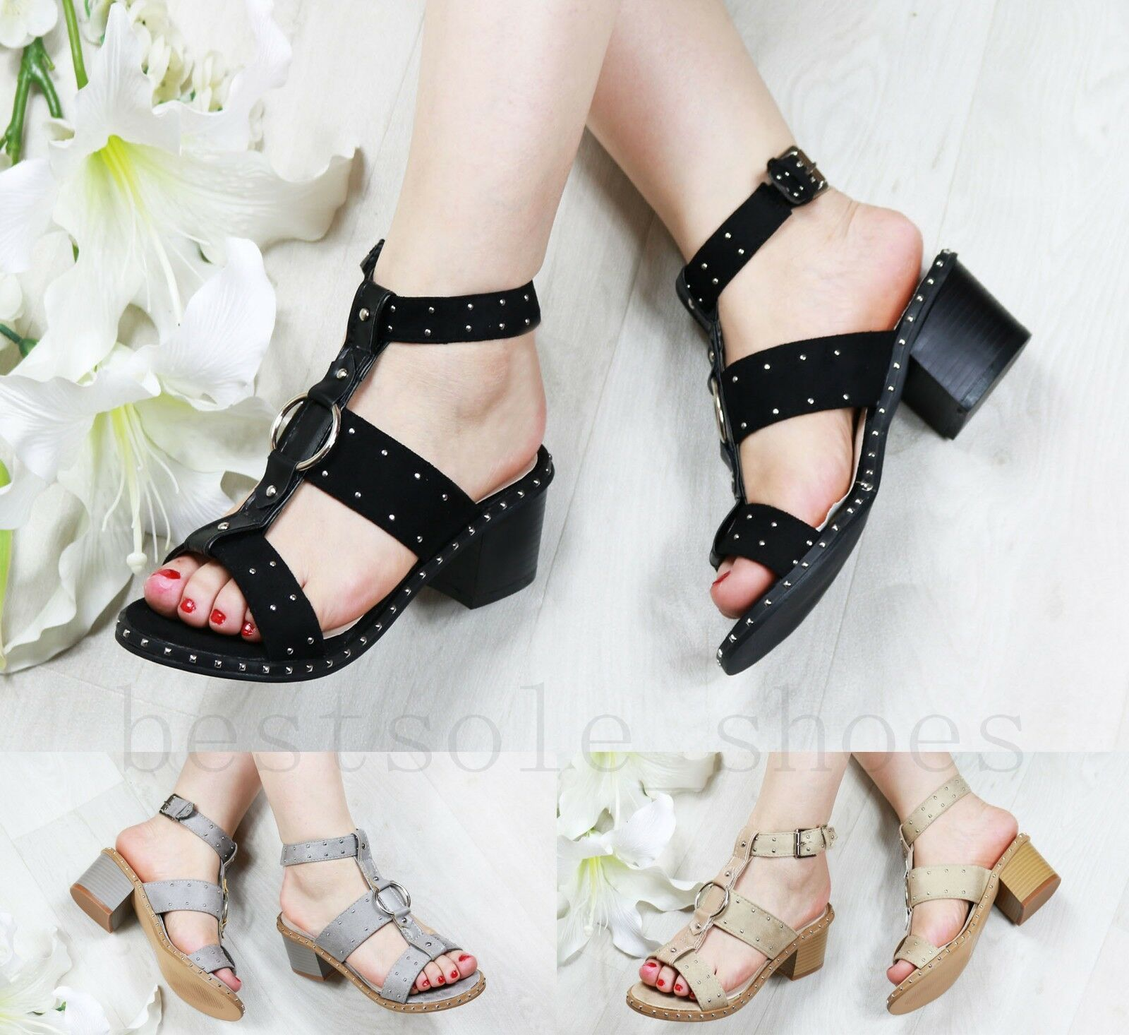 Womens Studded Mid Block Heel Sandals Studded Womens Peep Toe Buckle Ankle Strap Shoes Sizes d31641